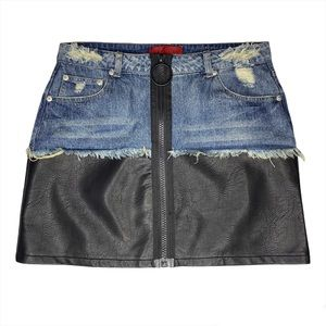 Signature 8 Denim and Faux Leather Distressed Skirt size Medium